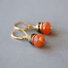 Peach Moonstone Pyrite Earrings Fool's Gold Filled Gemstone Stack Handmade Earrings