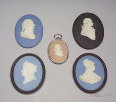 Five Assorted Wedgwood Portrait Medallions, England, 19th and 20th century, each oval, with applied white relief, two solid light blue self-framed with black jasper, by Bert Bentley, a depiction of Marie Therese BB901, and R. Molesworth BB1299, each 3 1/2 x 4 1/4 in.; a solid black jasper of Howe, 3 1/4 x 4 3/8 in.; a solid light blue of Adam Smith, inscribed below the trunk, 3 x 4 in.; and a lilac dip of Lafayette, 2 x 2 3/4 in., set in a silvered metal frame; each with impressed mark.