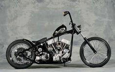 Black Indian Larry-style panhead chopper