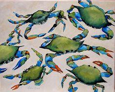 Blue Crabs on the Beach - Coastal Artwork: Beach Decor, Coastal Home Decor, Nautical Decor, Tropical Island Decor & Beach Cottage Furnishings