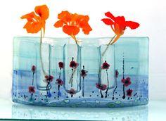 glass art, red poppi, glasses, glass curv, curv vase