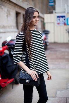 Street Style - Stripes and Chanel are Parisian versions of basics.  Read more: Paris Street Style Spring 2013 - Paris Fashion Week Street Style