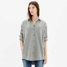 MW Flannel Oversized Button-Down Shirt || I love this cloud grey flannel!