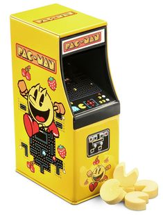 Pac-man candy in arcade cabinet tin.  Awesome!