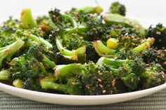 Roasted Broccoli Recipe with Soy Sauce and Sesame Seeds is quick, delicious, and healthy! [from Kalyn's Kitchen] #SouthBeachDiet #LowCarb #Vegan #GlutenFree