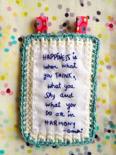 Crochet  Square with embroidered words and Petit Pan fabric