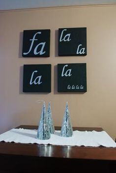 Fa La La  . . 12 Days of DIY Christmas: Day Eight - Canvas Art. from  blog Her Beautiful Mess