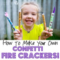 How to Make your OWN Confetti Firecrackers! We just made these and my kids are so excited to make more for the 4th of July! #July4th #family #holiday #diy #howdoesshe