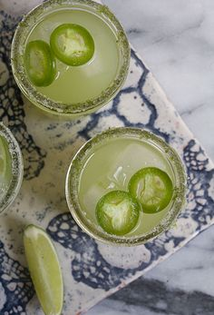 Spicy Cucumber Margaritas from A Cozy Kitchen