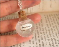 Memories in glass vial necklace - harry potter jewelry - silver plated chain