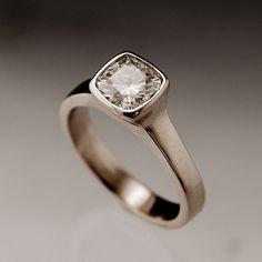 Moissanite Bezel Set Cushion Solitaire Engagement Ring in Silver/Palladium
