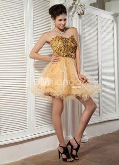 Mesh und Stretch Satin Prom-Kleid mit Herz-Ausschnitt und Pailletten in Golden, Mini-Kleid - Milanoo.com