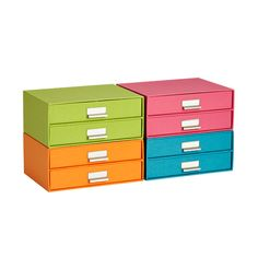 Bright Stockholm Paper Drawers from the Container Store. One of these colors might work. They also sell matching magazine holders and file boxes.