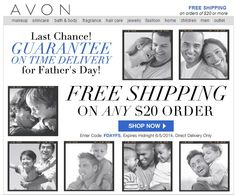 Avon free shipping on your $20 online order! Exp: midnight tonight Use Avon coupon code: FDAYFS http://eseagren.avonrepresentative.com/ #fathersday #avon #couponcode
