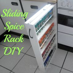 Sliding Spice Rack DIY ~ yes you can build one in under 2 hours!  #spicerack #storage #organizing WithABlast.com