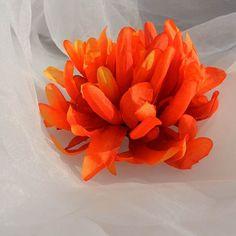 Red Orange Aster Mum Silk Flower Destash by beautifulswagstore