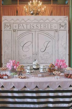 dessert tables, savori recip, cotton candy, food stations, wedding foods, food labels, stripe, dessert bars, backdrop