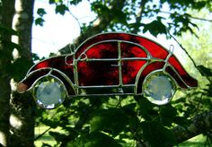 Volkswagen Beetle VW Bug Red Stained Glass Suncatcher Hippie Classic Cars Vintage Retro 60s Birthday Christmas Gift Original Design on Etsy, $48.00