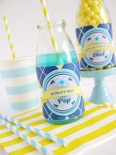 FREE Father's Day Printables! by Bird's Party #free #printables #partyprintables #fathersday #dad #bottle #wrappers #freebies #pop #freeprintables #party #father