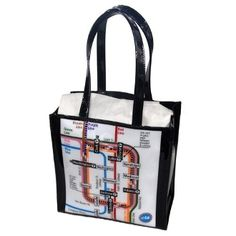 """Chicago CTA rail tote! Perfect for toting lunch or books for the beach. 9 3/4"""" wide x 5"""" deep x 10"""" tall. #MadeinUSA www.nortonsusa.com"""