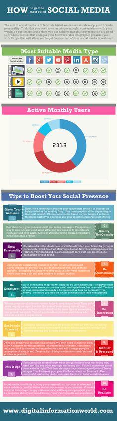 How to Get the Most out of Social Media infograph socialmedia, market, brand awar, social media, busi, infografia infograph, infografia socialmedia, medium, media infograph