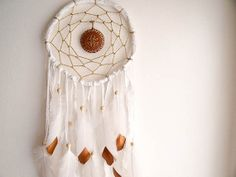 Large Dream Catcher - White Dreams - With Gold Mandala, Hand Painted Swan Feathers and Laces - Boho Home Decor, Nursery Mobile