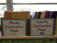 Labeled paper boxes