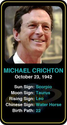 Celeb #Scorpio birthdays: Michael Crichton's  astrology info! Sign up here to see more:  https://www.astroconnects.com/galleries/celeb-birthday-gallery/scorpio   #astrology #horoscope #zodiac #birthchart #natalchart #michaelcrichton