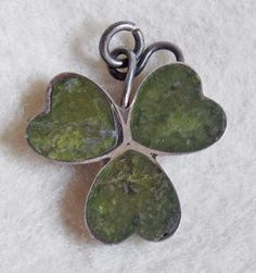 Gorgeous SHAMROCK Connemara Marble Sterling Vintage Charm