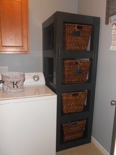 DIY Laundry Room Organization Basket holder - make with just one shelf for the two bins of dog food