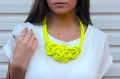 the knot, boutiques, neon necklaces, statement necklaces, dresses, collars, knot necklac, fashion photography, fashion inspir