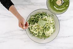 zucchini pasta w/ mint-pea pesto