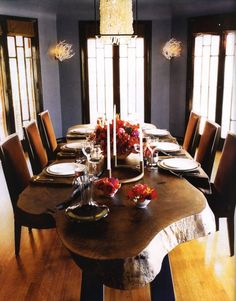 Gray stone walls, Dark wood window trim.  For new dining room