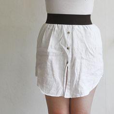 Turn an old men's shirt into a skirt