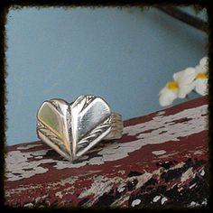 Spoon Ring  Spoon Handle Heart Eco Friendly Love www.laughigfrogstudio.net $24