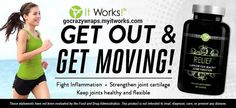 Get out and get moving with It Works!  Fight inflammation and promote joint health with Relief dietary supplement.  Save up to 45% today at https://gocrazywraps.myitworks.com. work, weight loss, messag, beauty products, sports nutrition, natural products, natural pain relief, back pain, joint pain relief