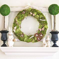 For an Easter wreath decoration for the front door or an earthy chic mantel, give this holiday craft a try: http://www.bhg.com/holidays/easter/decorating/easter-spring-door-decorations/?socsrc=bhgpin040514mossandbutterflyeasterwreath&page=9