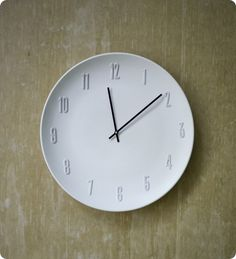 Turn a plate into a white ceramic wall clock {West Elm knock off}