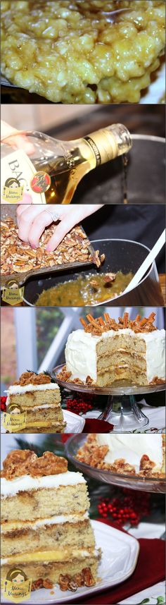 Bananas Foster Cake - In addition to the moist cake and brown sugar rum glaze, there are layers of bananas between the layers, and a silky cream cheese frosting on top.  And if THAT isn't enticing enough, it's topped off with pieces of sweet, nutty, Southern pecan pralines!  Step-by-step photos to making this luscious cake that is just perfect for the holidays! <3