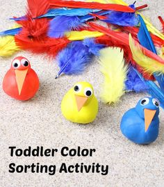 Feather Color Sorting and Fine Motor Activity from Fantastic Fun and Learning
