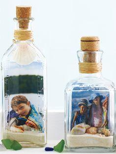 Bottled picture frame: beach keepsakes