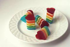 Rainbow Jell-o Hearts