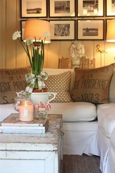 Great blog for pottery barn look on a budget coffee tables, cottag, living rooms, couch, potteri barn, burlap pillows, family rooms, hous, pottery barn