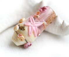 Beach Glass lampwork bead, Pink and beige, handmade focal bead - SRA, by MayaHoney