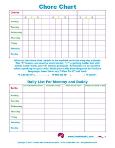 Free Printable Toddler Chore Chart for 1, 2, 3, 4 and 5 year olds in Color
