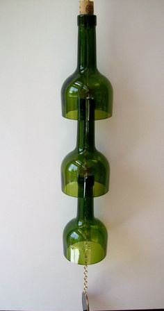 wine bottle wind chime. Finally what to do with the tops of wine bottles cut off for other projects!