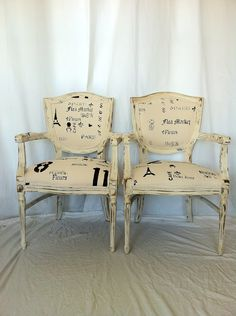 French Shabby Chic Dining Chairs.