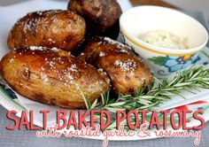 America's Test Kitchen Salt Baked Potatoes with roasted garlic and rosemary from Our Best Bites. Best baked potato EVER.