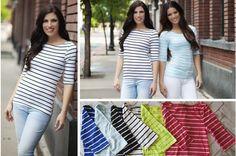 Dress it Up or Down - Nautical Stripe Boat Neck Top #boatneck #nauticalshirts pickyourplum.com