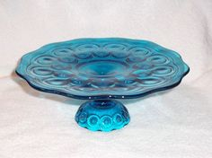L. E. Smith Moon & Stars Glass Colonial Blue Pedestal Cake Stand